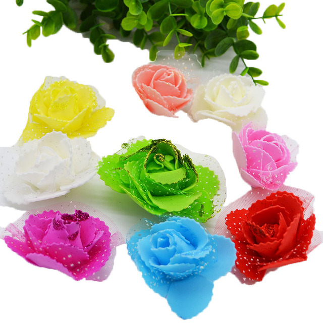 50pcs 5cm Multicolor Artificial Silk Flower Glitter PE Foam Rose     50pcs 5cm Multicolor Artificial Silk Flower Glitter PE Foam Rose Head Home  DIY Wreaths Craft Gift