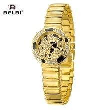 Люксовый Бренд BELBI Часы Сексуальная Leopard Женщины Кварцевые Часы Горный Хрусталь Золото Из Нержавеющей Стали Женщины Платье Наручные Часы Relojes 2016