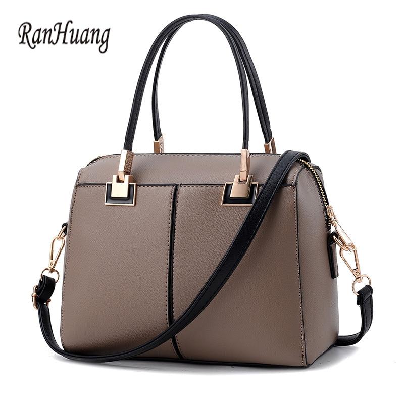 RanHuang Women Fashion Handbags High Quality PU Leather Thread Handbags Black Red Ladies Small Shoulder Bags bolsas feminina A45 enopella thread casual pu leather women