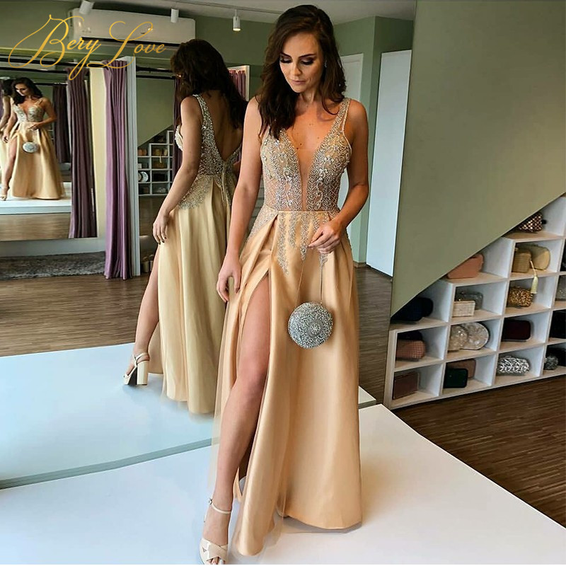 BeryLove Champagne V   Evening     Dress   2019 Bead   Evening   Gown Long Sexy Slit Prom   Dress   Special Occasion   Dress   Train Robe De Soire