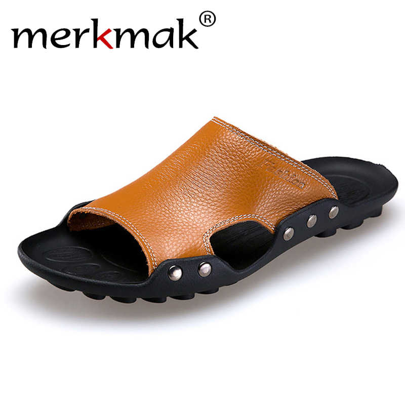 82c125314a7 Merkmak Genuine Leather Slippers Men Summer Sandals Breathable Brand  Designer Stylish Shoes Real Leather Seaside Beach