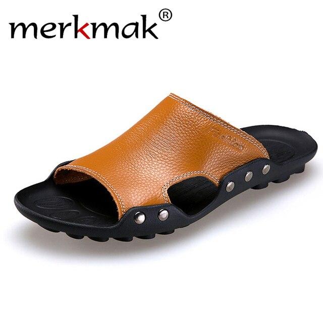 f532e7cd946b9c Merkmak Genuine Leather Slippers Men Summer Sandals Breathable Brand  Designer Stylish Shoes Real Leather Seaside Beach Flats