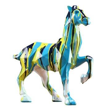 Modern Abstract Black Horse Sculpture Geometric Resin Leopard Statue Wildlife Decor Craft Ornament Accessories Furnishing R1313