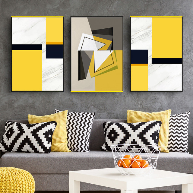MICSUNNY Arstract Black Grey Yellow Geometry Picture Canvas Prints ...