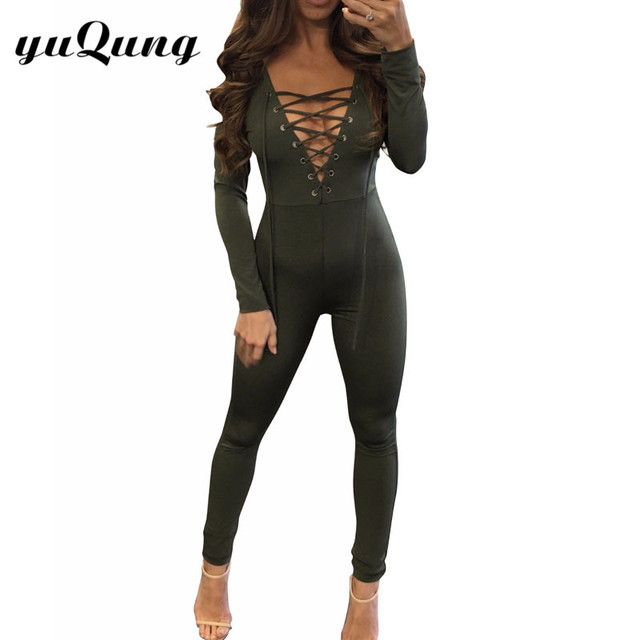 9f0bf07a2cf1 Women lace up jumpsuit Deep V neck Long Sleeve Bodycon Rompers Long Pants  overalls Ladies sexy stretchy party club Playsuit