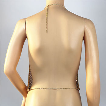 Elegant Metal Crop Top Summer Sexy Club Backless Bralette Beach Halter Gold Sequined Party Women Tank Top Camisole 10