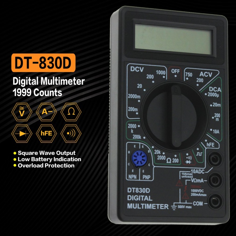 DT-830D Mini Pocket Digital Multimeter 1999 Counts AC/DC Volt Amp Ohm Diode hFE Continuity Tester Ammeter Voltmeter Ohmmeter digital multimeter ac dc voltmeter ohmmeter electrical multi tester dt 830b