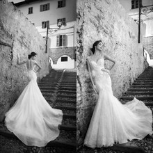New Arrival Fashion Sleeveless Appliques Lace Mermaid Wedding Dress 2015 Court Train Bridal Dresses ZY4079
