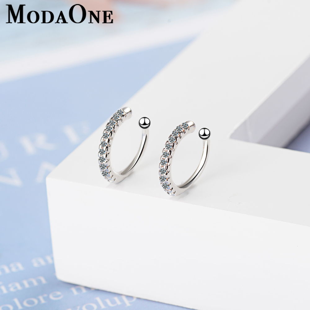 ModaOne Simple Earcuff Tasteful Zircon Clip On Earrings For Women 925 Sterling Silver Ear Cuff Jewelry For Girl pendientes mujer(China)