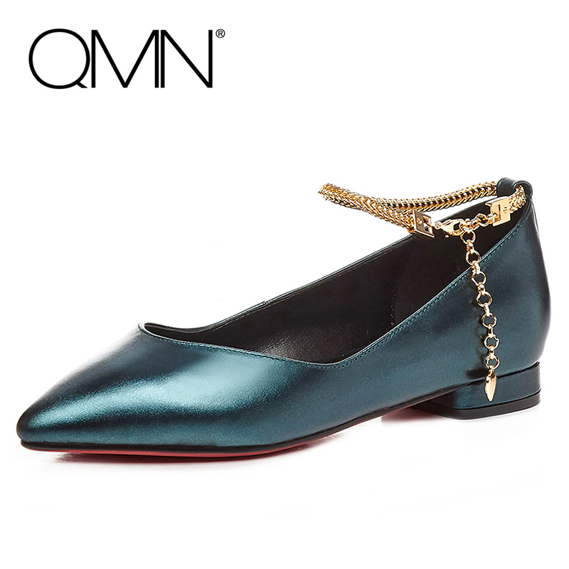 ФОТО QMN women chain embellished metallic leather ballet flats Women Pointed Toe Slip On Casual Shoes Woman Genuine Leather Flats