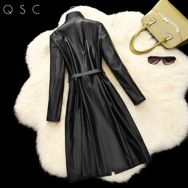 2017, Новая мода Новый реального овчины Литер Для женщин куртка Куртки из кожи тонкий прохладный Весна-осень-зима женские длинные куртки