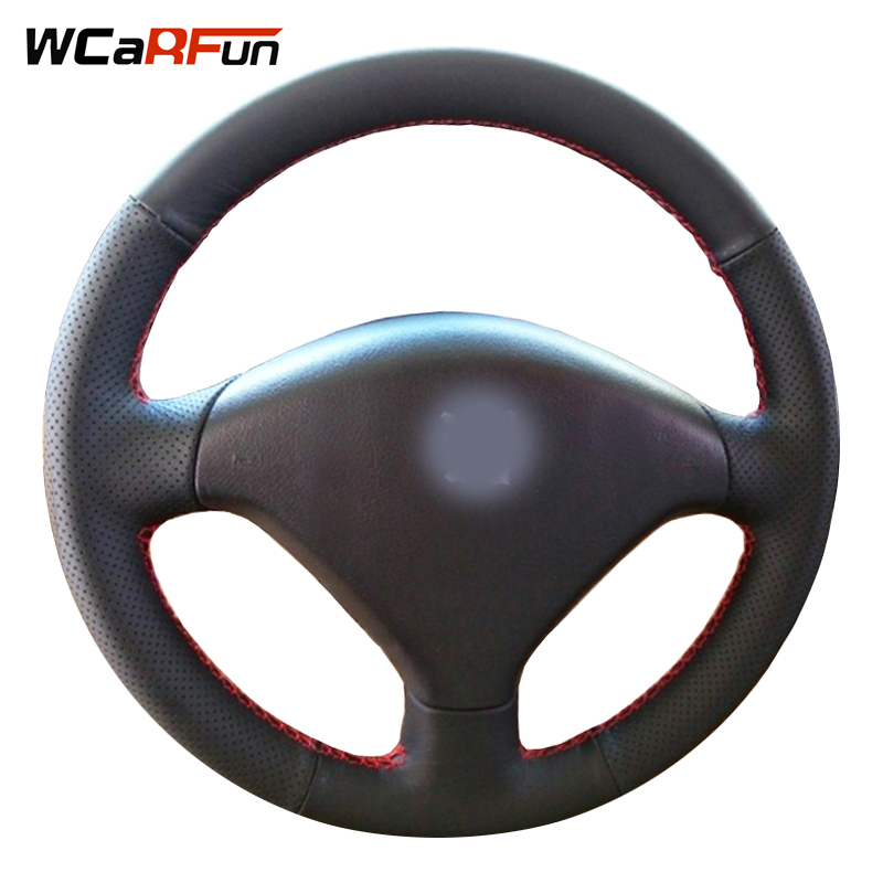WCaRFun DIY Customized Name Black Artificial Leather Hand-Stitched Auto Car Steering Wheel Cover for Peugeot 307