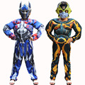 Filme cosplay trajes de super-heróis crianças meninos transformadores optimus prime bumblebee trajes carniva natal partido jumpsuit com máscara