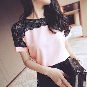 الكورية أزياء الشيفون النساء البلوزات الدانتيل قصيرة الأكمام الوردي النساء قمصان زائد حجم 4XL/5XL إمرأة قمم Blusas Femininas elegante