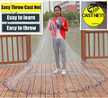 Cast net hot sale  2.4-7.2M American hand cast net 1*1cm small mesh high quality outdoor sprots throw fishing net  tool