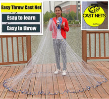 Cast net 2.4-7.2M American style fly folding hand net 1*1cm small mesh outdoor sprots throw catch fishing net tool(China)