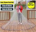 Cast net venta caliente 2.4-7.2 M Americano mano fundido net 1*1 cm pequeño de malla de alta calidad herramienta al aire libre sprots fishing net