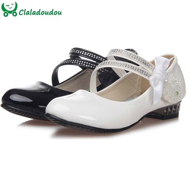 White Black Girl PU Leather Shoes Girl Party Kids Girl Dance Princess Shoes Diamond Flower Children Wedding Shoes 7-16Years