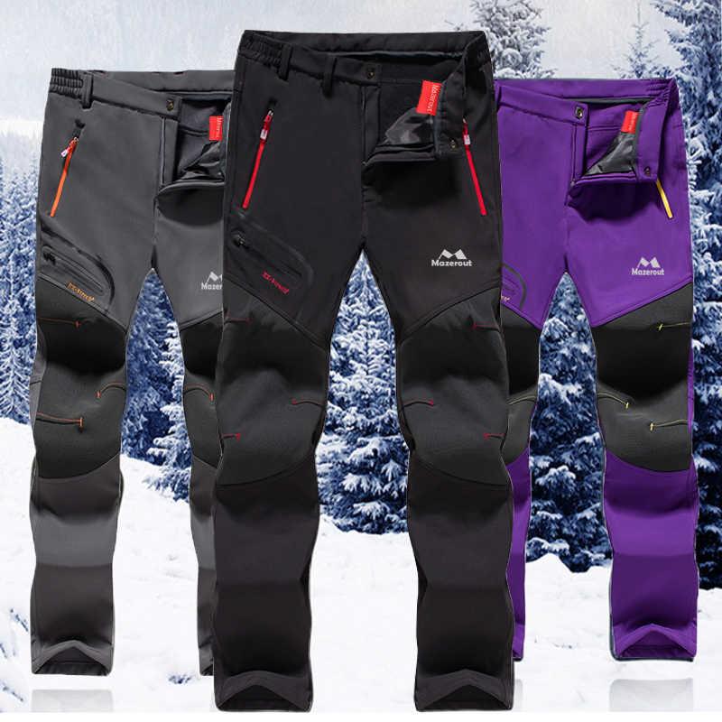 d9d1417e9eb2f MAZEROUT Women Winter Waterproof Camping Trekking Fleece Outdoor Hiking  Pants Climbing skiing Belt Softshell Trousers Travel