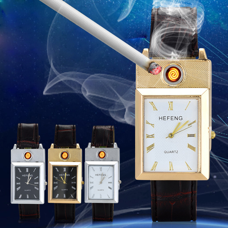 Rechargeable Flameless USB Lighter Watches relogio masculino Windproof Cigarette Lighter Clock Hodinky Men's Quartz Wristwatches