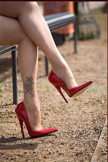 13cm Large Size Sexy Red High Heels 13 Cm Gold Patent