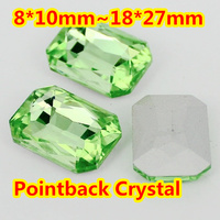 Peridot Color Rectangle Octagon Crystal Fancy Stone 8 10mm 10 14mm 13 18mm 18 25mm 18