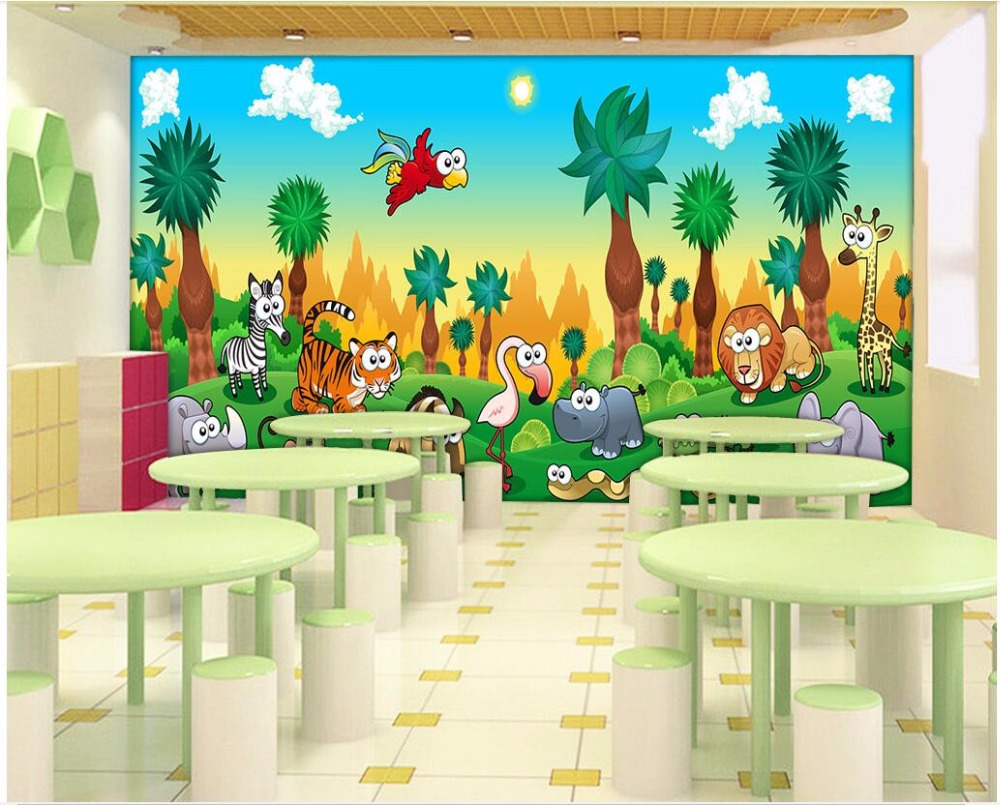 Us 1504 46 Offcustom Photo 3d Wallpaper Small Animals In A Cartoon Giant Forest Tv Deer Background Wall 3d Wall Murals Wallpaper For Wall 3 D In