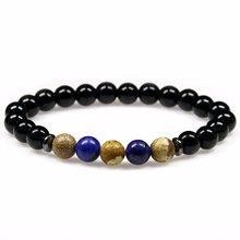 d20c17b412ab Piedra natural negro Onyx Pulseras con encanto de piedra lapislázuli  Brazaletes para los hombres moda joyería Navidad regalos