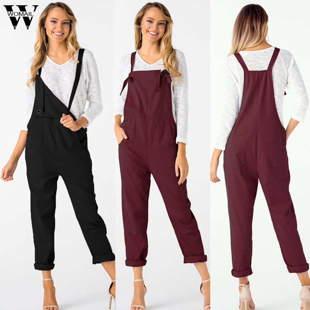 Womail Bodysuit Women Summer Casual Loose Dungarees Solid Long Pockets Rompers Jumpsuit Trousers Fashion New 2019 Dropship M1