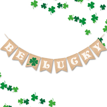 New party home lucky four-leaf clover plant letter BE LUCKY banner hanging flag holiday decoration HOYVJOY