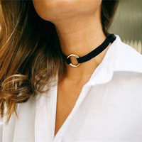 Hot Fashion Black White Red Flannel Choker Simple Personalized Trend Necklace Copper Loop Necklaces 2016 New Jewelry