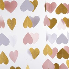 METABLE 2PCS Heart Paper Garland Circle Chain Hanging Decor 10ft (glitter gold,pink,white)