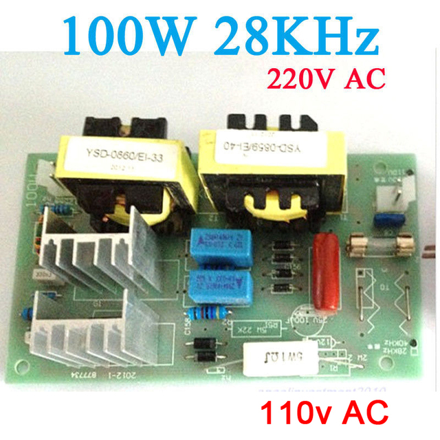 Fréquence ultrasonique 220 KHz de carte de conducteur de puissance de nettoyage de générateur à ca 110 v 100W 281 W 28KHz pour la beauté médicale plus propre