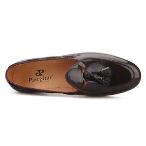 Image 4 - Piergitar 2019 темно коричневые мокасины из полированной телячьей кожи ручной работы с кисточками, мужские мокасины ручной работы итальянского дизайна