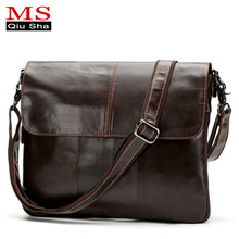 MS.QIUSHA Small Genuine Leather Bag Men Bag Handbag Luxury Brand Male Crossbody Messenger Shoulder Bag Men Briefcase Satchel