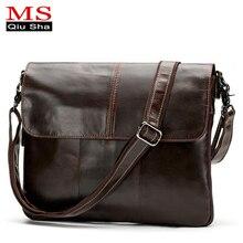 MS. QIUSHA Kleine Echtem Leder Tasche Mann Bag Handtasche Luxus Marke Männlichen Crossbody Messenger Schultertasche Männer Aktentasche Satchel