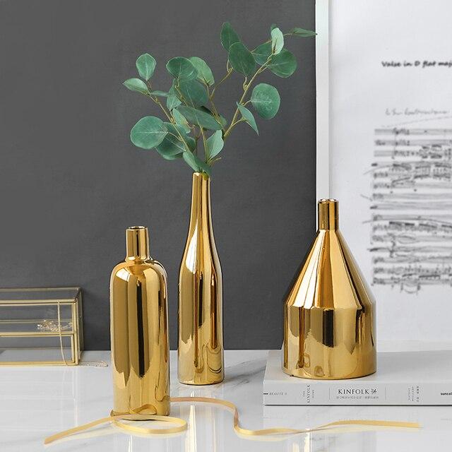 1pc Modern Gold Plated Vase Ceramic Flower Vase Golden Water Planting Container Desktop Decorative Vase  2