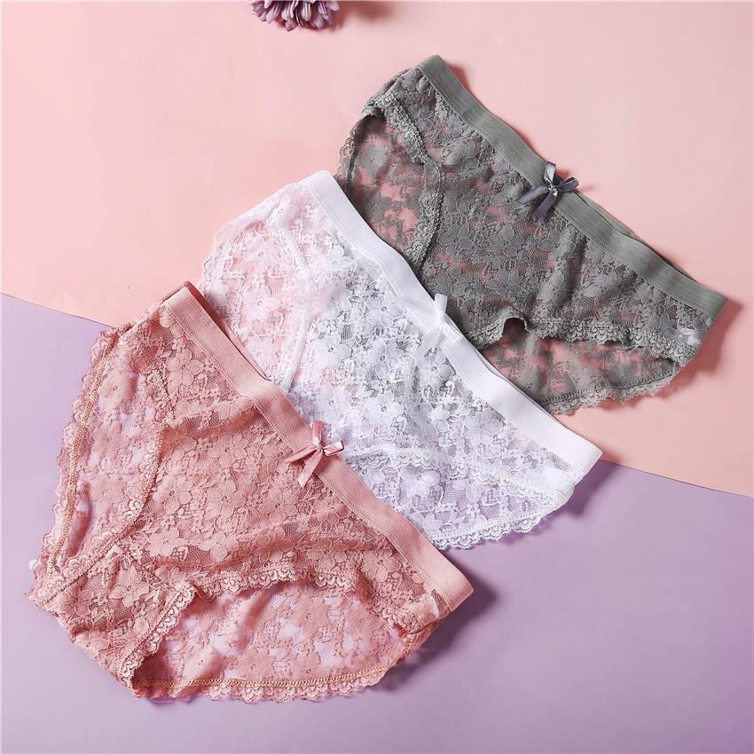 3PCS/Set Women Lace   Panties   Underwear Lingerie Women Briefs Low Waist Underpants for Female Girls   Panties   Floral Dropshipping