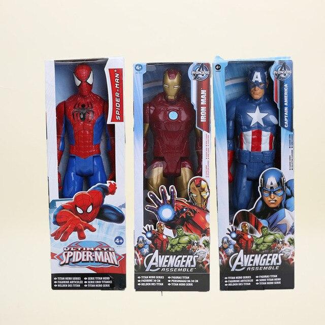 30 CM Os vingadores super Heroes Capitão América homem aranha homem de ferro Ação PVC Figura Toy