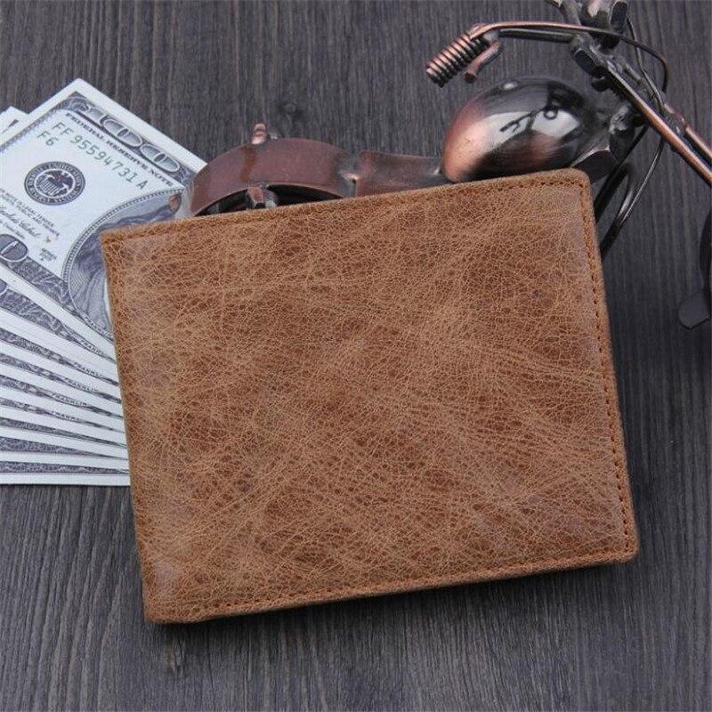 Genuine Cowhide Leather Mens Short Wallet Retro Design Male Purse Card Holder Coin Pocket Bifold Wallet Multi Cards Bits Purse