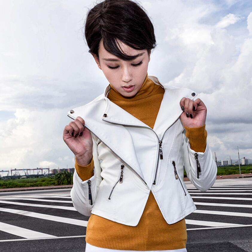 2018 New Fashion Women Spring Autumn Pu Locomotive   Leather   Jacket Casual Slim Soft Short Jacket Biker Faux   Leather   Jacket Women