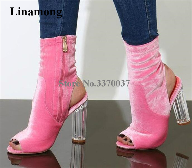 Women Charming Pink Velvet Open Toe Transparent Chunky Heel Short Boots Cut-out Crystal Thick High Heel Ankle Booties Dress Shoe charming open back high slit dress for women