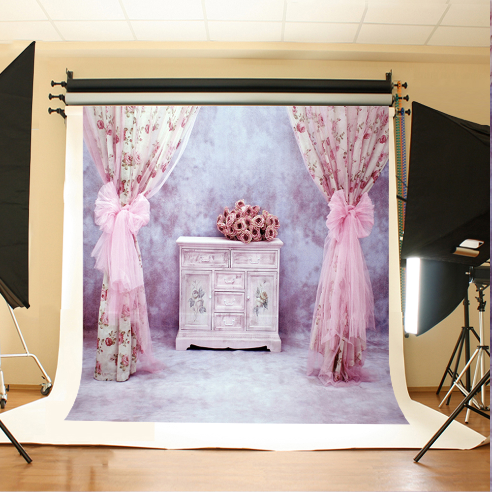 Wedding Photography Backdrops Flowers White Cabinets Birthday Background Gray Ground Wedding Vinyl Backdrops for Photography