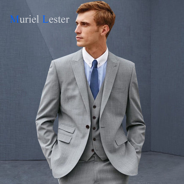 Muriel Lester nueva últimas escudo Pant diseños smoking gris hombres traje  slim fit 3 unidades terno cd0918033914
