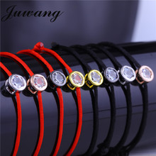 JUWANG Lucky Red Rope Bracelets & Bangles for Women Girl Round Cubic Zircon Charm Wedding  Jewelry Friendship Gift Wholesale