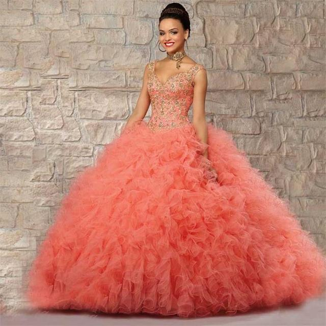 Dresses quinceanera coral and gold