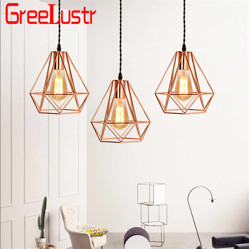 Europe Plated Iron Cage Pendant Lamps Rose Gold E27 Led Chandeliers for Kitchen Restaurant Hanging Light Home Deco Luminaire