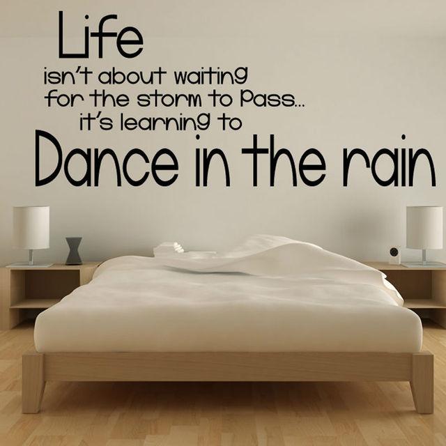 dans in de regen engels tekst muursticker ontwerp interieur diy zwart gedrukt grote maat voor slaapkamer