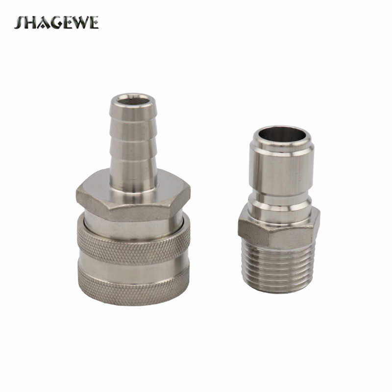 "Stainless Steel Female Quick Disconnect Connect Set 1/2""barb for Home Brewing Beer Kettle Mash Tun Pump Wort Chiller Fitting"