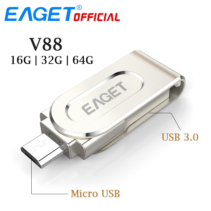 EAGET Micro USB Flash Drive 64G Pendrive 32G 16G USB 3.0 Flash Disk Pen Drive OTG Metal Stick 2 In 1 For Xiaomi Phone PC Laptop